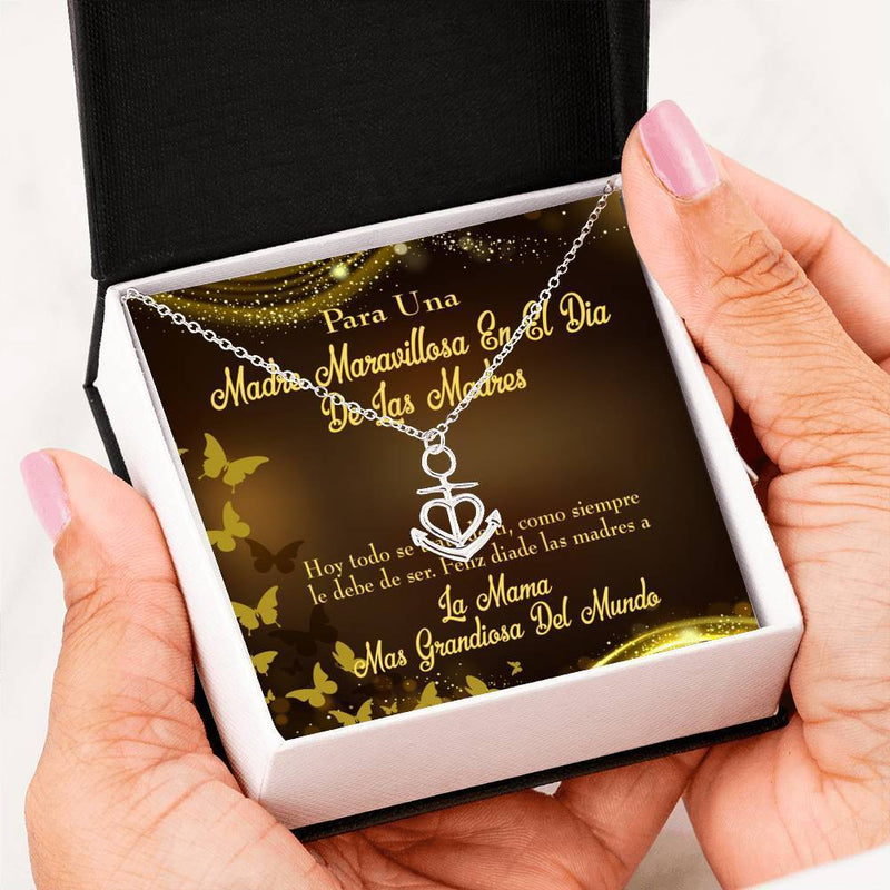 Mom Gift Necklace- Spanish Mama Anchor Pendant Stainless Steel, Mothers Day Birthday Jewelry Gift Express Your Love Gifts