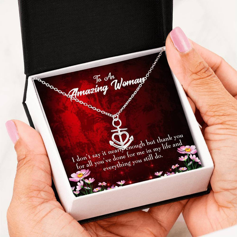 Mom Gift Necklace- Thank You Anchor Pendant Stainless Steel, Mothers Day Birthday Jewelry Gift Express Your Love Gifts
