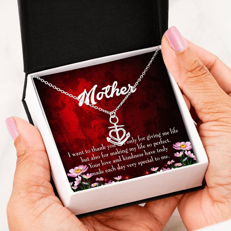 Mom Gift Necklace- Thank You Mother Anchor Pendant Stainless Steel, Mothers Day Birthday Jewelry Gift Express Your Love Gifts