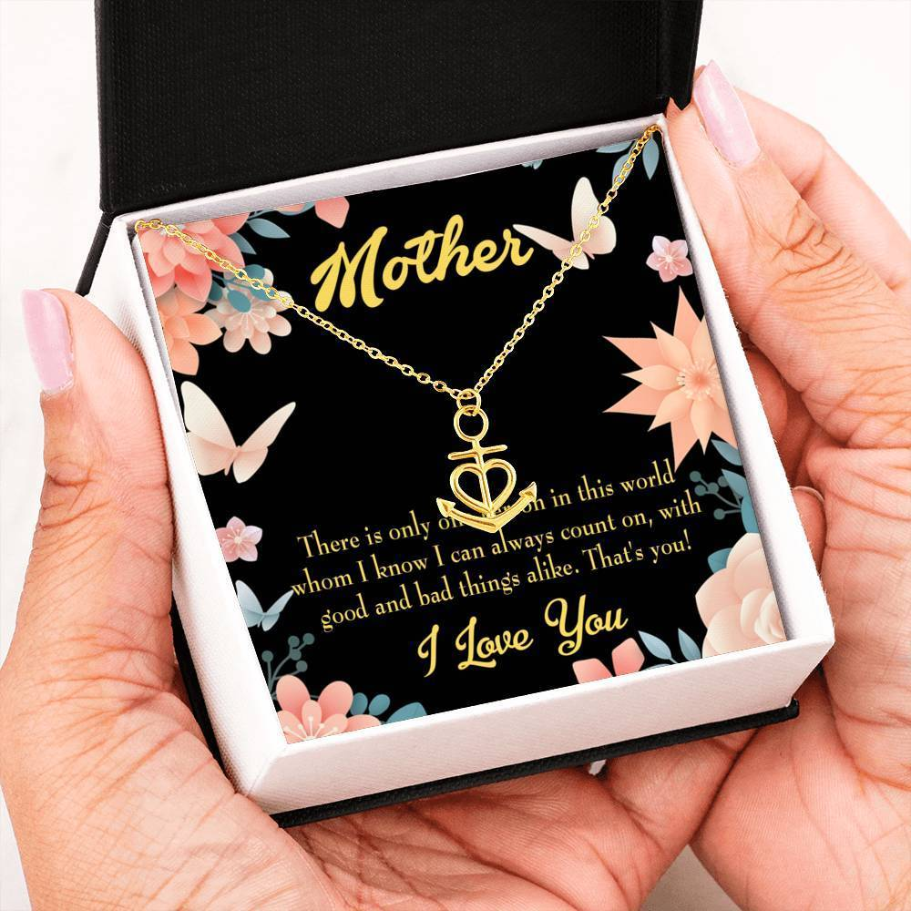 Mom Gift Necklace- That's You Mom Anchor Pendant Stainless Steel, Mothers Day Birthday Jewelry Gift Express Your Love Gifts