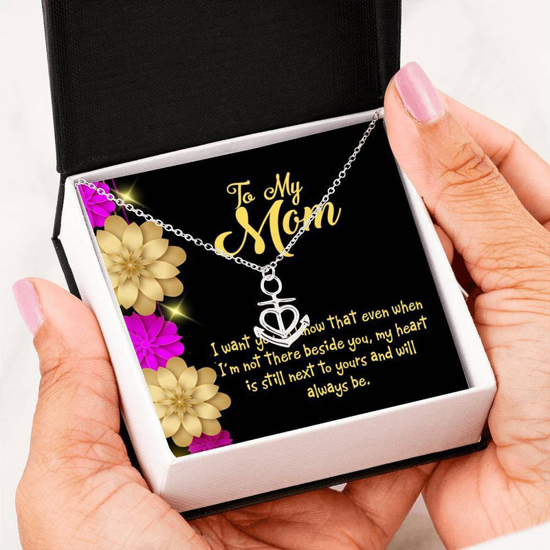Mom Gift Necklace- There Beside You Anchor Pendant Stainless Steel, Mothers Day Birthday Jewelry Gift Express Your Love Gifts