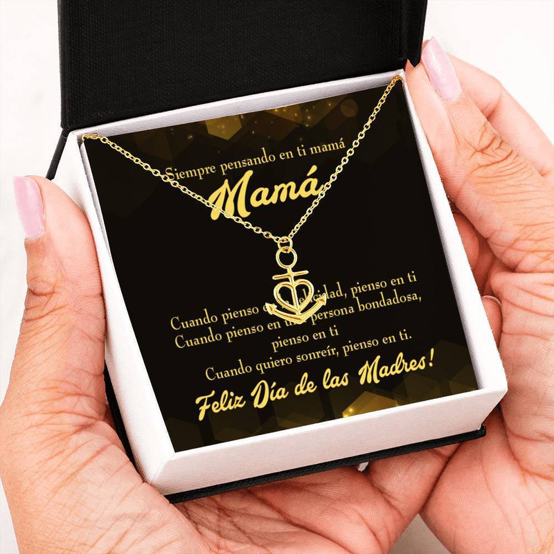 Thinking of You Spanish Anchor Pendant Stainless Steel, Mothers Day Birthday Jewelry Gift