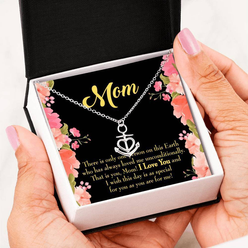 Mom Gift Necklace- Unconditional Anchor Pendant Stainless Steel, Mothers Day Birthday Jewelry Gift Express Your Love Gifts