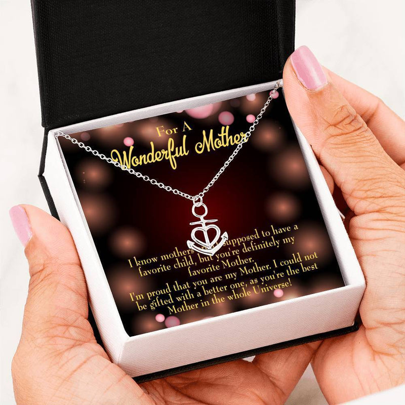 Mom Gift Necklace- Universe's Best Mom Anchor Pendant Stainless Steel, Mothers Day Birthday Jewelry Gift Express Your Love Gifts