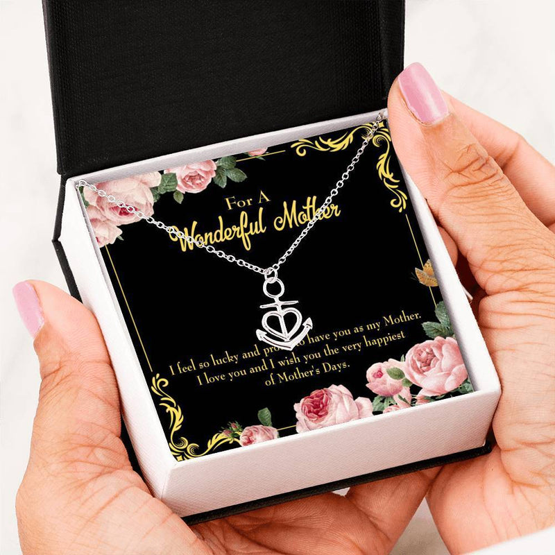 Mom Gift Necklace- Very Happiest Anchor Pendant Stainless Steel, Mothers Day Birthday Jewelry Gift Express Your Love Gifts