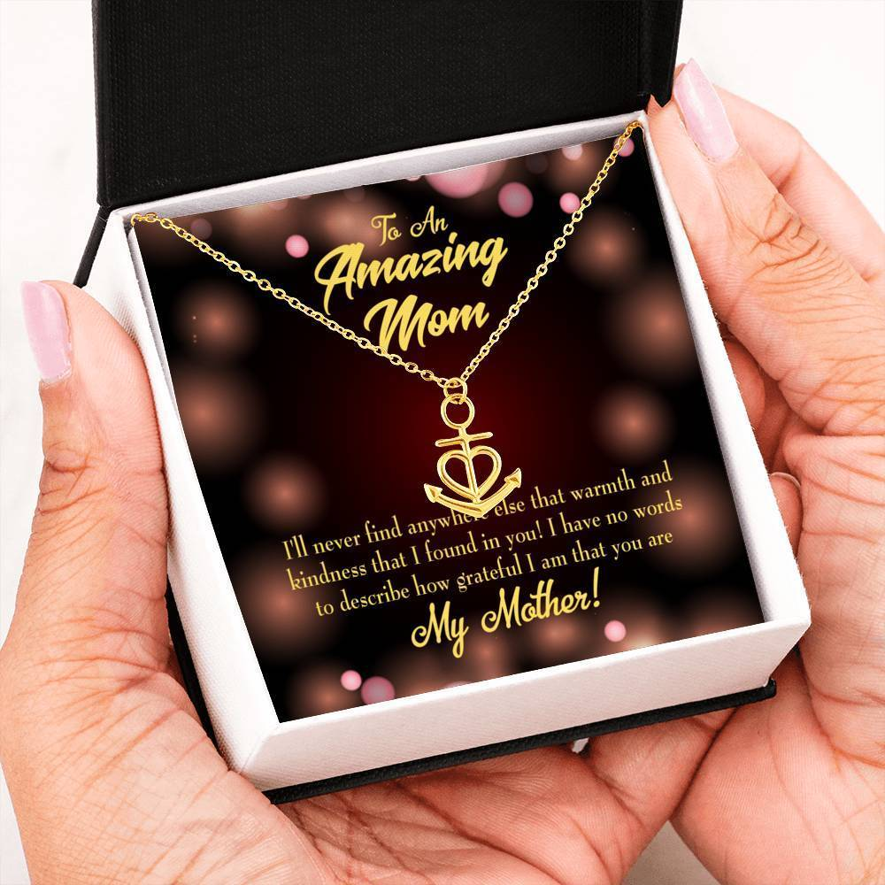 Mom Gift Necklace- Warmth and Kindness Anchor Pendant Stainless Steel, Mothers Day Birthday Jewelry Gift Express Your Love Gifts