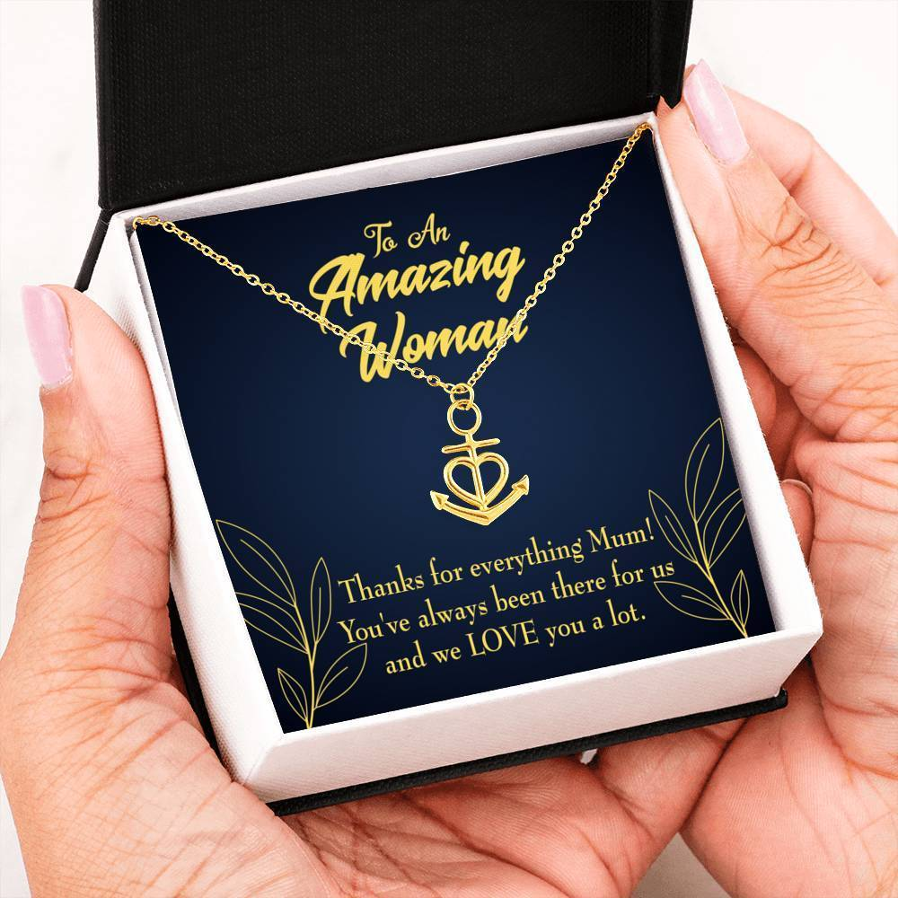 Mom Gift Necklace- We Love You Anchor Pendant Stainless Steel, Mothers Day Birthday Jewelry Gift Express Your Love Gifts