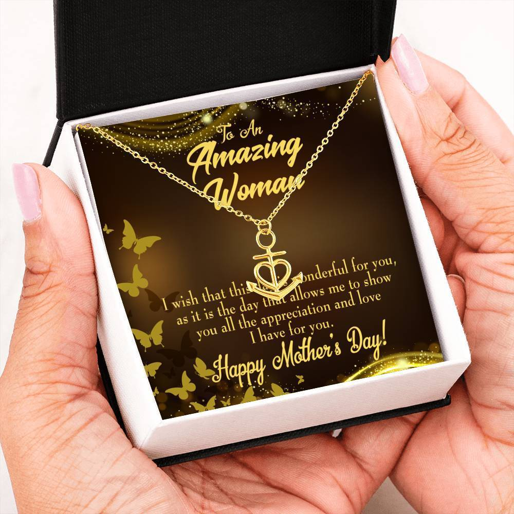 Mom Gift Necklace- Wish This Day Anchor Pendant Stainless Steel, Mothers Day Birthday Jewelry Gift Express Your Love Gifts