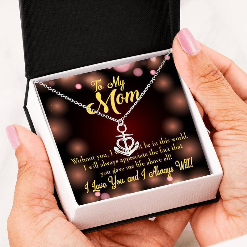 Mom Gift Necklace- Without You Anchor Pendant Stainless Steel, Mothers Day Birthday Jewelry Gift Express Your Love Gifts