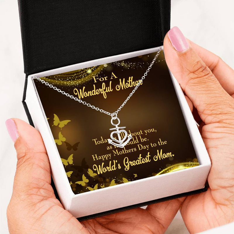 Mom Gift Necklace- Wonderful Mother Anchor Pendant Stainless Steel, Mothers Day Birthday Jewelry Gift Express Your Love Gifts