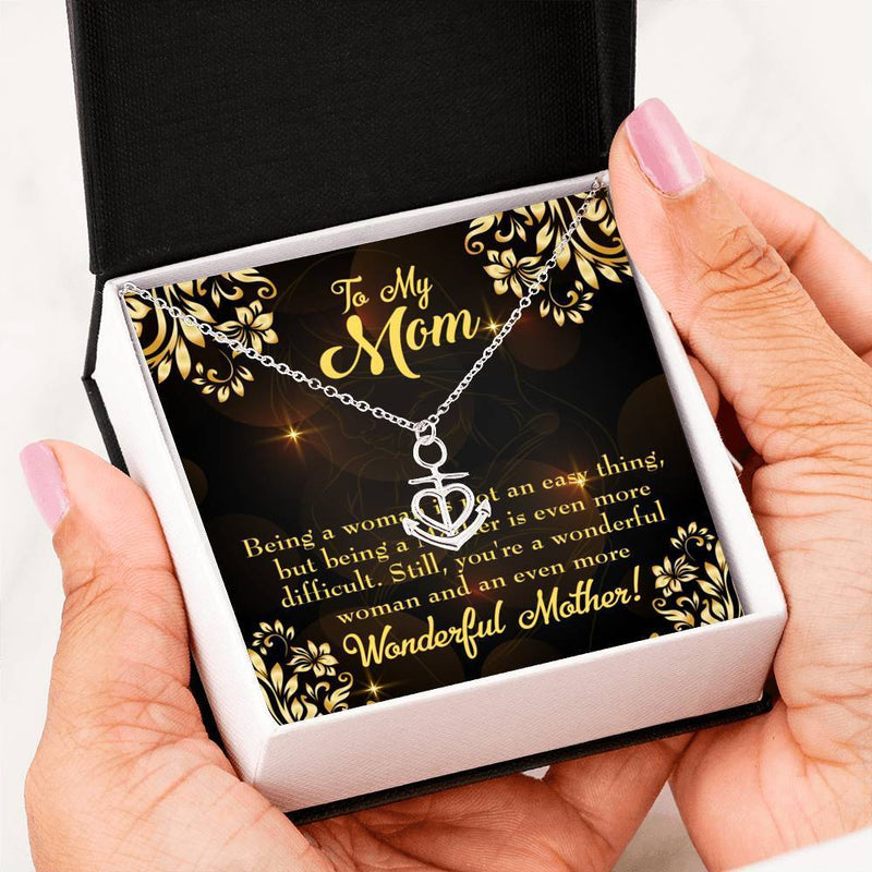 Mom Gift Necklace- WOnderful Woman Mother Anchor Pendant Stainless Steel, Mothers Day Birthday Jewelry Gift Express Your Love Gifts