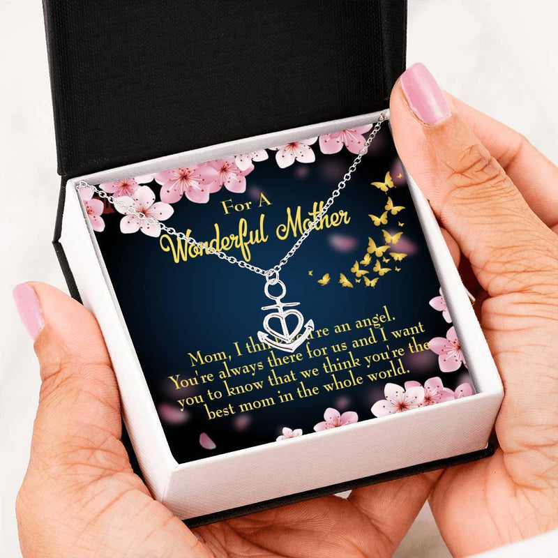 Mom Gift Necklace- You're an Angel Anchor Pendant Stainless Steel, Mothers Day Birthday Jewelry Gift Express Your Love Gifts