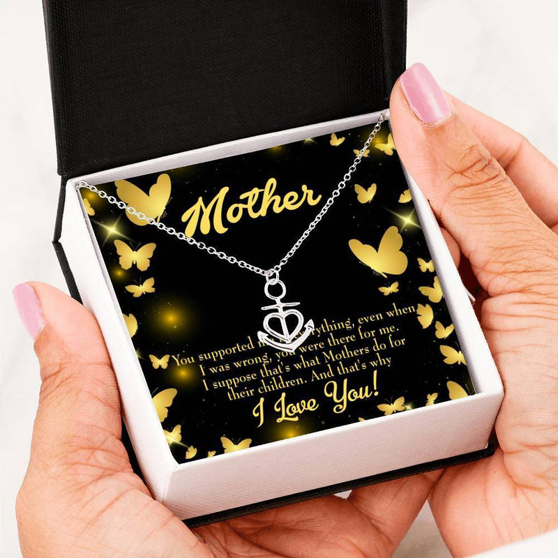 Mom Gift Necklace- You Supported Me Anchor Pendant Stainless Steel, Mothers Day Birthday Jewelry Gift Express Your Love Gifts