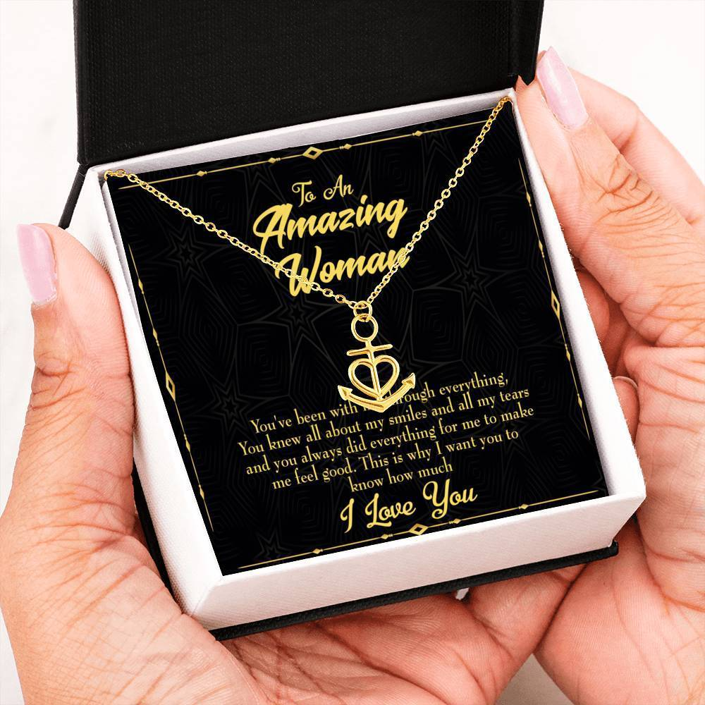 Mom Gift Necklace- You With Me Anchor Pendant Stainless Steel, Mothers Day Birthday Jewelry Gift Express Your Love Gifts