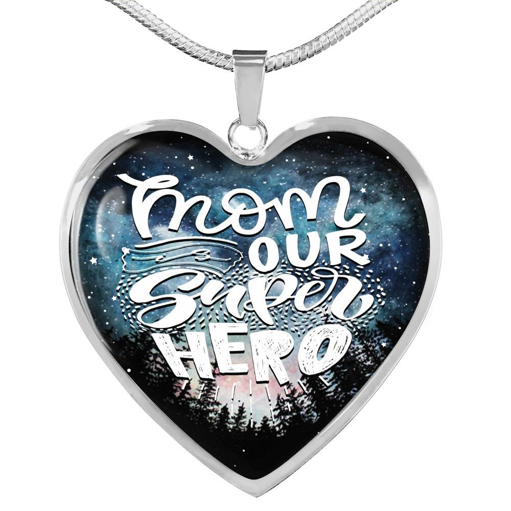 Express Your Love Gifts Mom Our Super Hero Love Gift for Super Mom Heart Pendant Necklace Luxury Necklace (Silver) / No