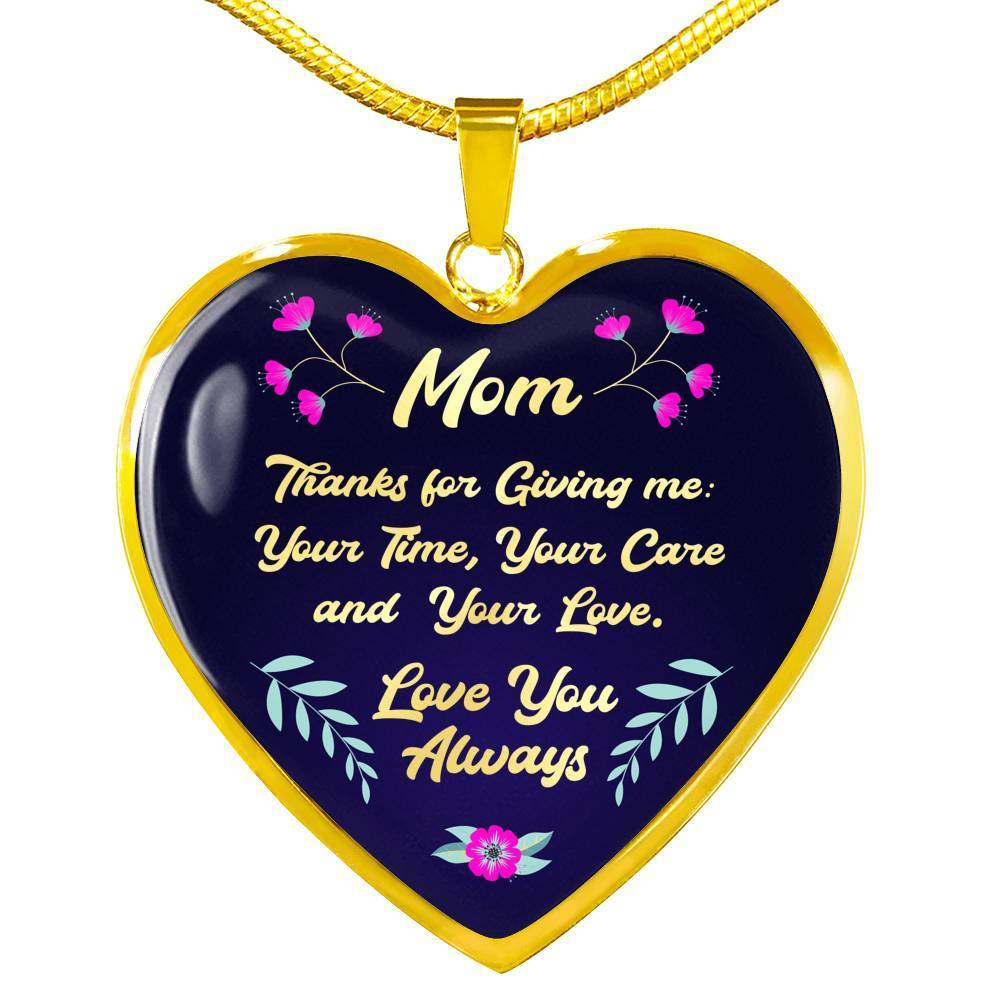 "Mom Message Gift Necklace Stainless Steel or 18k Gold Heart Pendant 18""22"" - Express Your Love Gifts"
