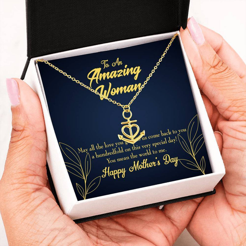 Mom the World Anchor Pendant Stainless Steel, Mothers Day Birthday Jewelry Gift