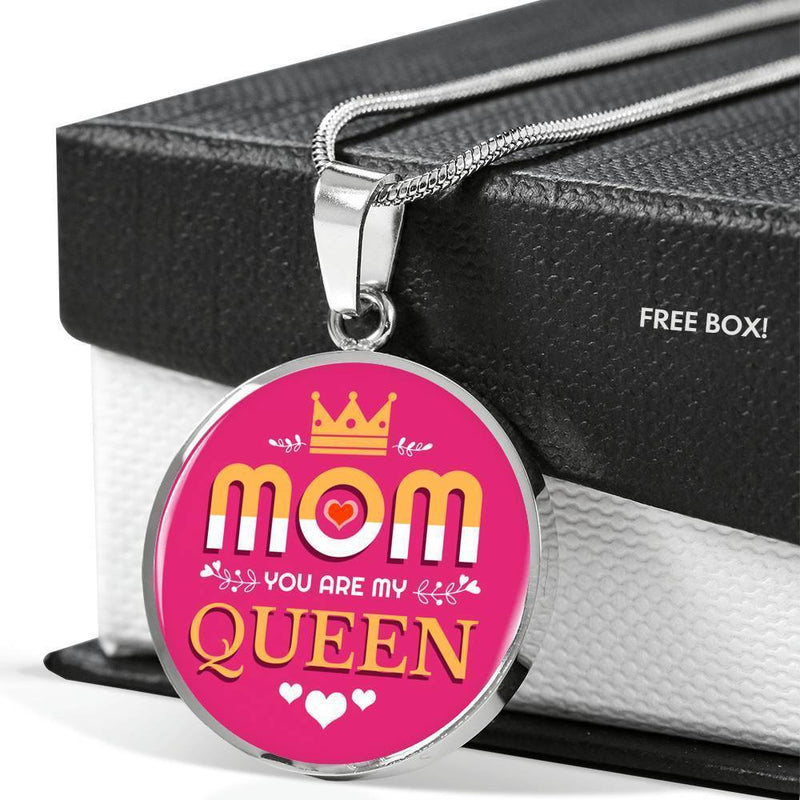 Express Your Love Gifts Mom You Are My Queen Circular Pendant Necklace