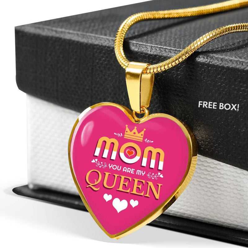 Express Your Love Gifts Mom You Are My Queen Heart Pendant Necklace