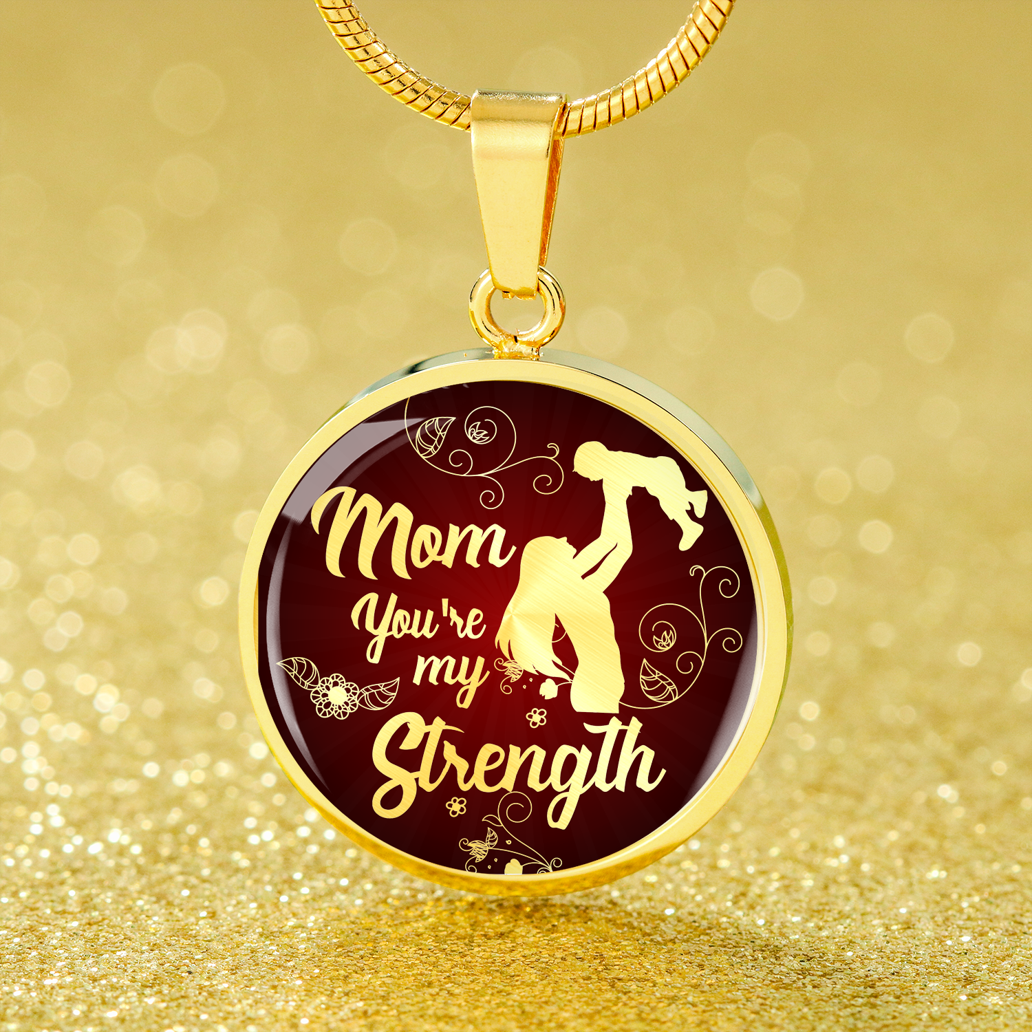 Express Your Love Gifts Mom You're My Strength Circle Necklace Mom Pendant Gift