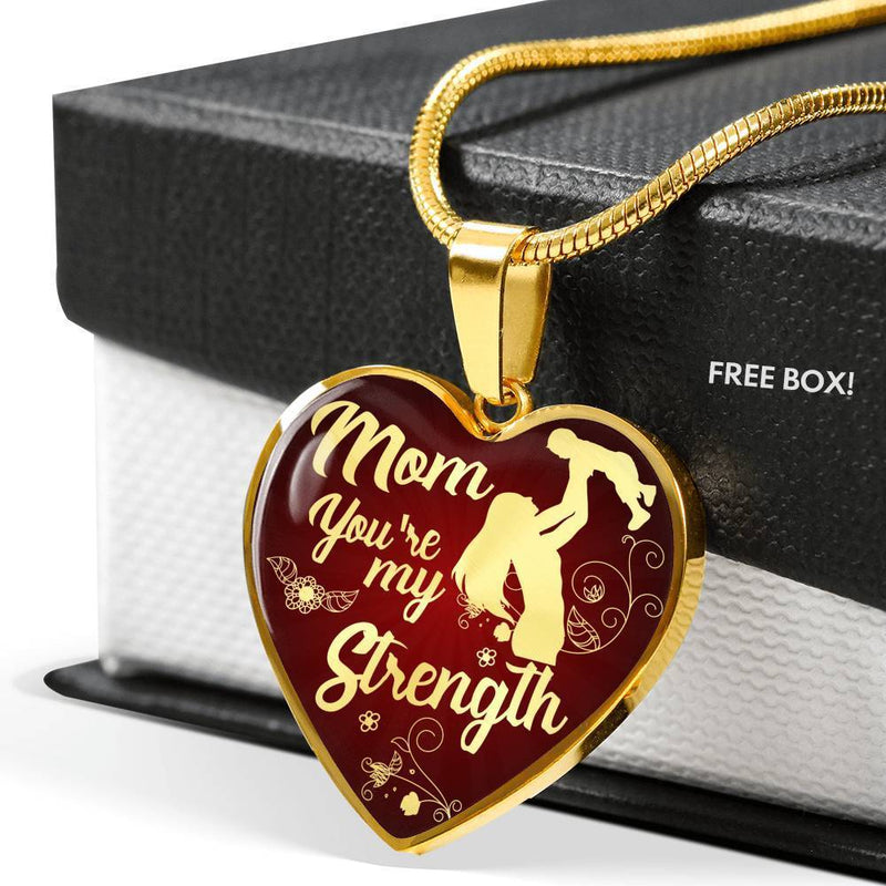 Express Your Love Gifts Mom You're My Strength Heart Necklace Pendant