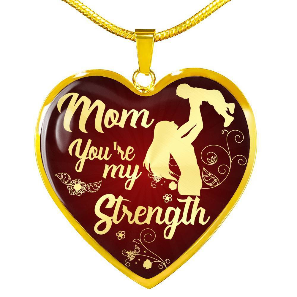 Express Your Love Gifts Mom You're My Strength Heart Necklace Pendant Luxury Necklace (Gold) / No