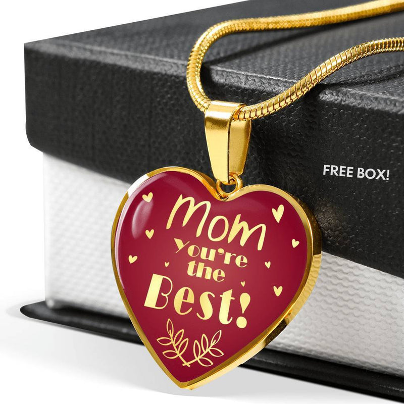 Express Your Love Gifts Mom You're the Best! Heart Necklace Pendant Luxury Necklace (Gold) / No
