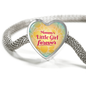 Express Your Love Gifts Mommy's Little Girl Forever Handmade Stainless Steel Heart Charm Bracelet