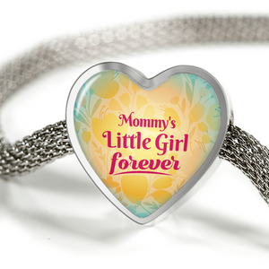 Express Your Love Gifts Mommy's Little Girl Forever Handmade Stainless Steel Heart Charm Bracelet S/M Bracelet & Charm