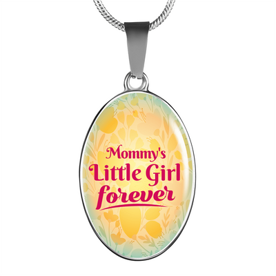 Mommy's Little Girl Forever Oval Pendant Necklace or Bangle Bracelet Express Your Love Gifts