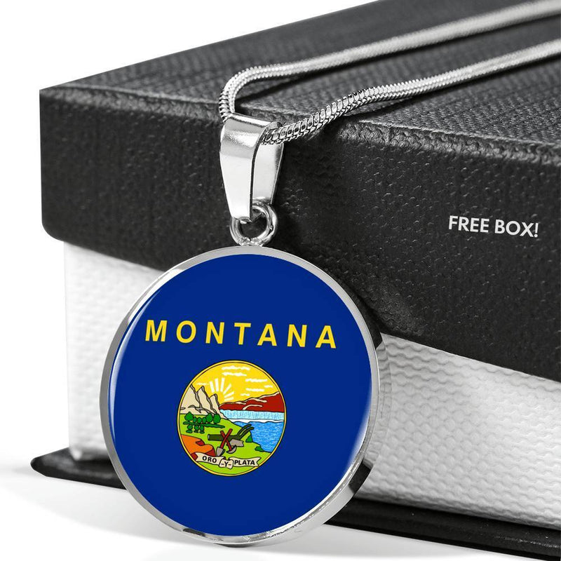 "Montana State Flag Necklace Stainless Steel or 18k Gold Circle Pendant 18-22"" - Express Your Love Gifts"