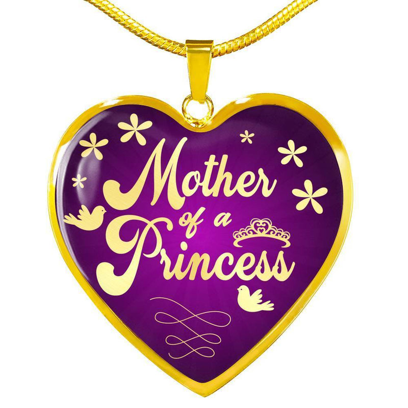 Express Your Love Gifts Mother of a Princess Heart Pendant Daughter Gift Necklace