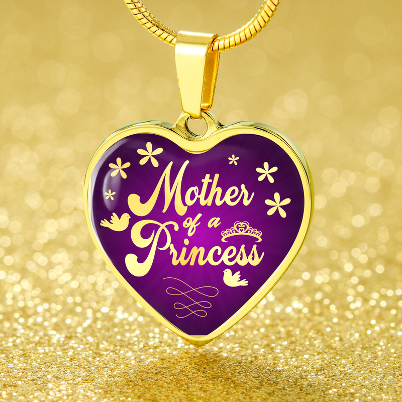 Express Your Love Gifts Mother of a Princess Heart Pendant Daughter Gift Necklace Luxury Necklace (Gold) / No