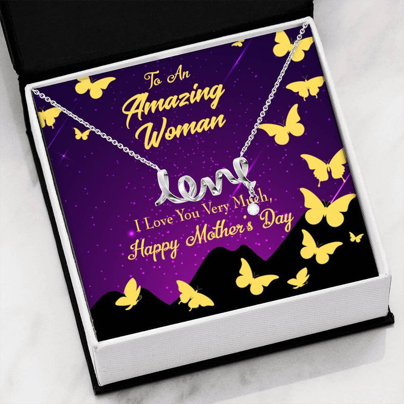 Mother's Day English Meaningful Mom Gift, Scripted Necklace Stainless Steel, Mother's Day Jewelry Express Your Love Gifts