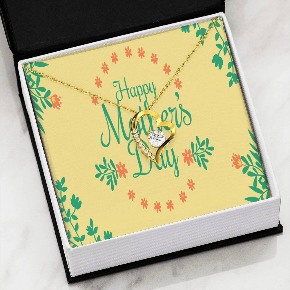 "Mother's Day Yellow Floral Card CZ Love Heart Pendant 18k Gold or Stainless Steel 18"" Necklace - Express Your Love Gifts"
