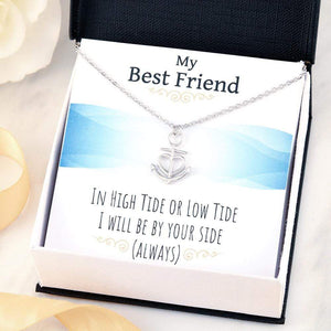 "My Bestfriend Anchor Necklace Stainless Steel 16-22"" Adjustable Cable Chain Express Your Love Gifts"