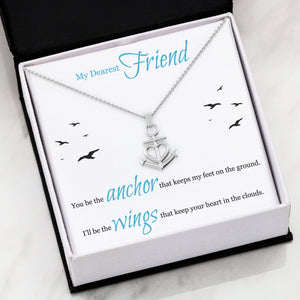 "My Dearest Friend, Anchor and Wings Anchor Necklace Stainless Steel 16-22"" Adjustable Cable Chain Express Your Love Gifts"