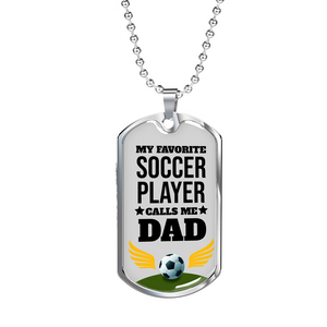 Express Your Love Gifts My Favorite Soccer Player Dog Tag Pendant Necklace
