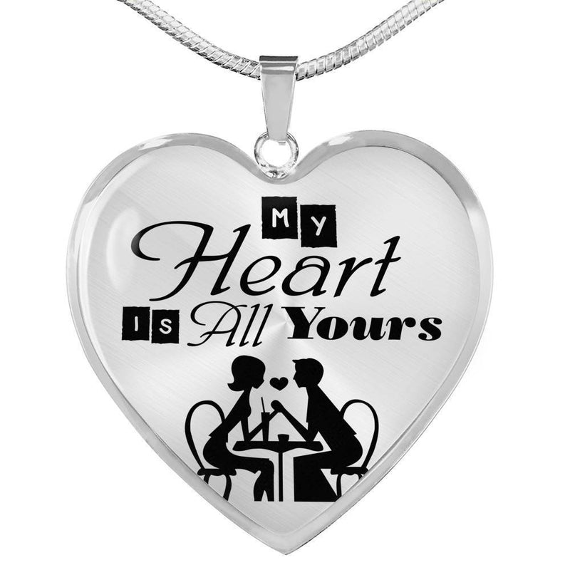 Express Your Love Gifts My Heart is All Yours Couples Heart Pendant Luxury Necklace (Gold) / No