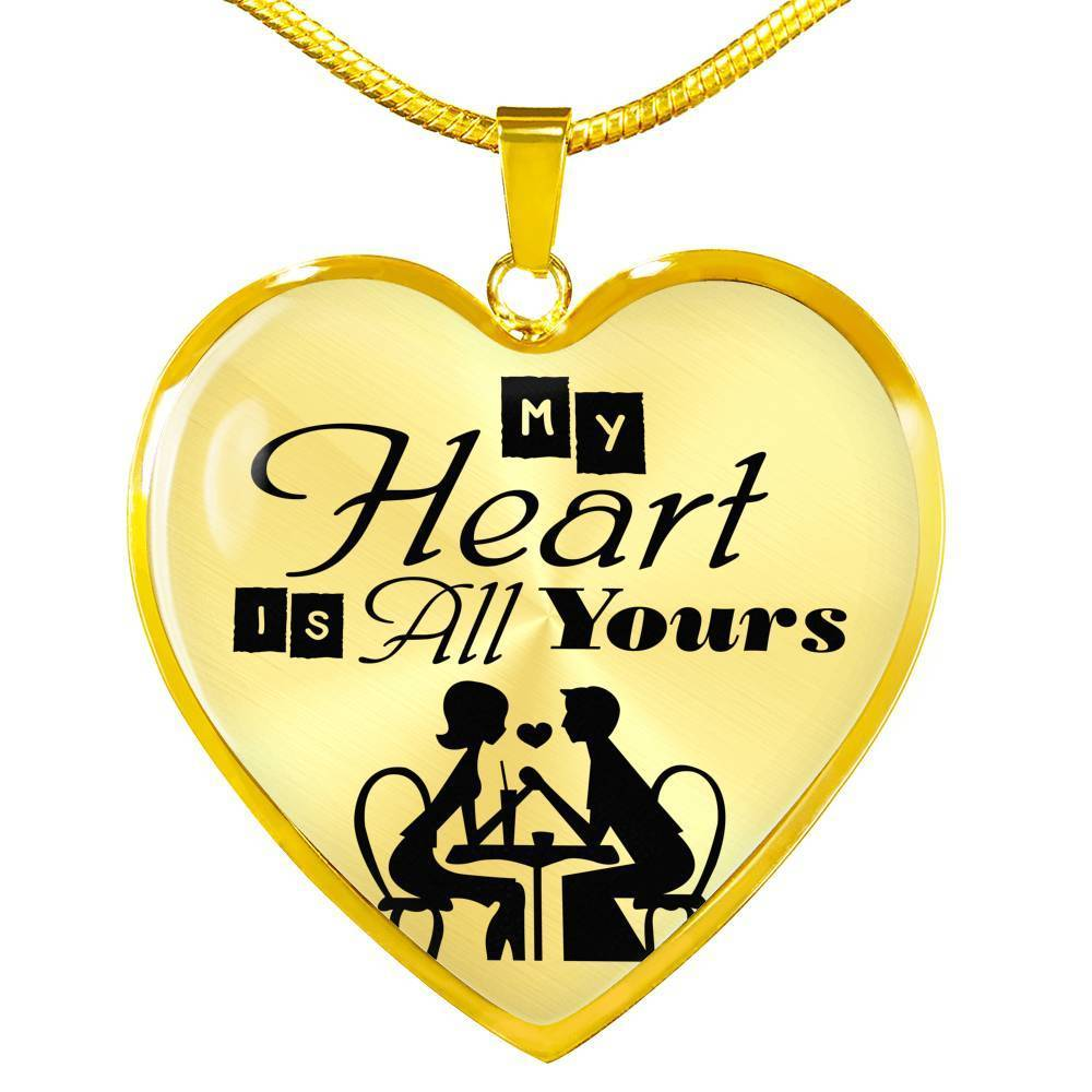 My Heart is All Yours Couples Necklace Stainless Steel or 18k Gold Heart Pendant 18-22'' - Express Your Love Gifts