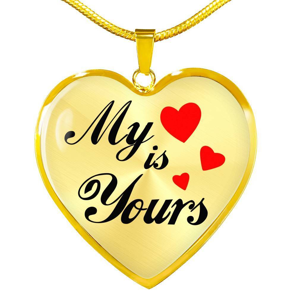 Express Your Love Gifts My Heart is Yours Heart Pendant Necklace Luxury Necklace (Gold) / No