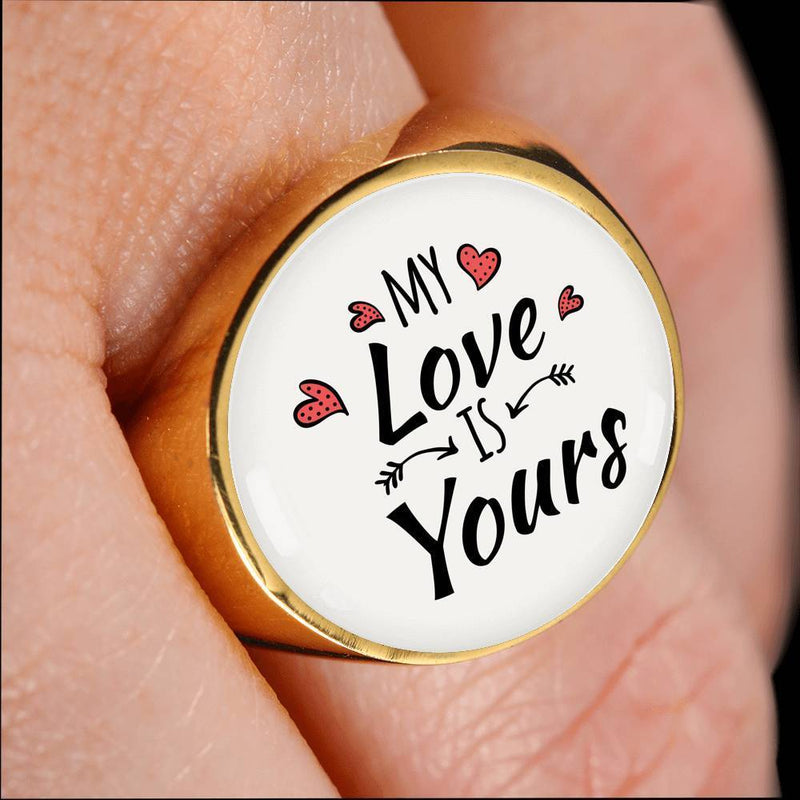 Express Your Love Gifts My Love is Yours 18k Gold Finish Bible Verse Circle Signet Ring w Free Luxury Gift Box Size 4
