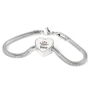 Express Your Love Gifts My Love is Yours Handmade Stainless Steel Heart Charm Bracelet S/M Bracelet & Charm / No