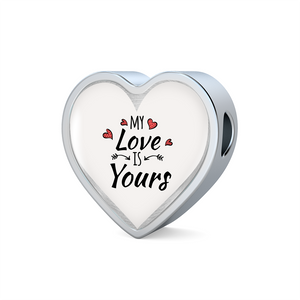 Express Your Love Gifts My Love is Yours Handmade Stainless Steel Heart Charm Bracelet Heart Charm Only / No