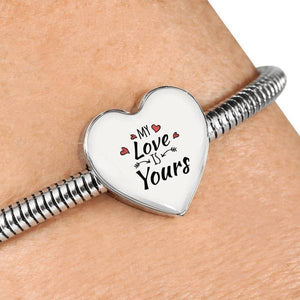 Express Your Love Gifts My Love is Yours Handmade Stainless Steel Heart Charm Bracelet