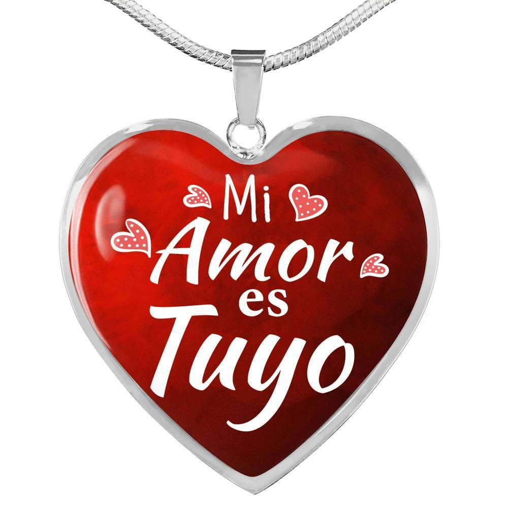 Express Your Love Gifts My Love is Yours Spanish Mi Amor Es Tuyo Heart Pendant Necklace