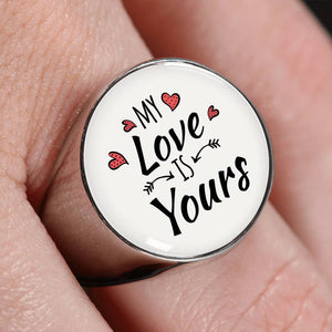 Express Your Love Gifts My Love is Yours Stainless Steel-Silver Tone Bible Verse Circle Signet Ring w Free Luxury Gift Box
