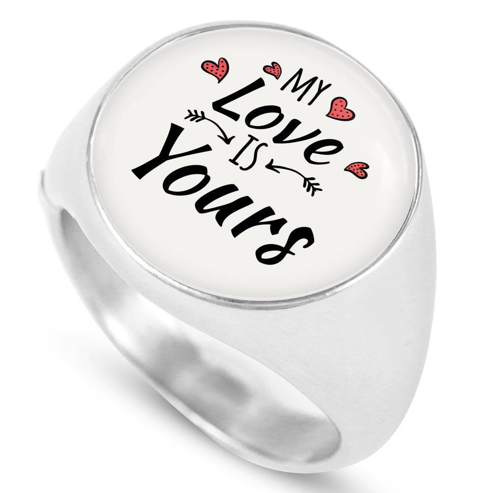 Express Your Love Gifts My Love is Yours Stainless Steel-Silver Tone Bible Verse Circle Signet Ring w Free Luxury Gift Box Size 4