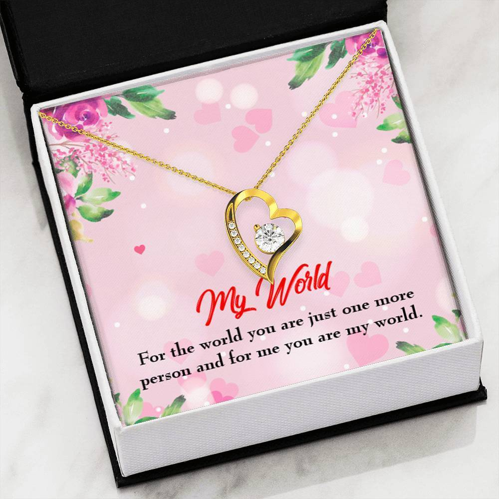 "My World Cubic Zirconia Love Heart Pendant 18k Gold Finish or Stainless Steel 18"" Necklace Express Your Love Gifts"