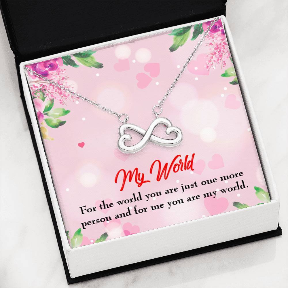 My World Infinity Pendant Necklace Message Card Express Your Love Gifts